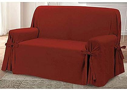 HomeLife – Cubre sillón – Elegante Protector de sofás con Lazos – Funda de sofá de algodón para Proteger del Polvo, Las Manchas y el Desgaste, Fabricado en Italia – Burdeos