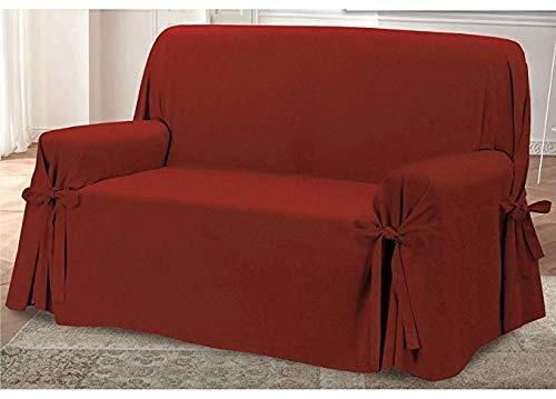 HomeLife – Cubre sofá de 3 plazas – Elegante Protector de sofás con Lazos – Funda de sofá de algodón para Proteger del Polvo, Las Manchas y el Desgaste, Fabricado en Italia – Burdeos