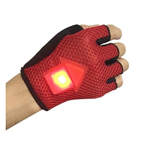 626 Fahrradhandschuhe mit LED-Blinker, halber Finger, stoßdämpfend, rutschfest, atmungsaktiv, Mountainbike-Handschuhe für Damen und Herren, Unisex, rot, m