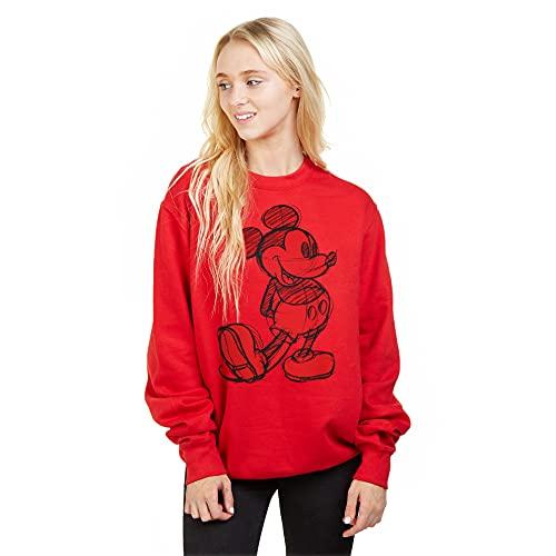 Disney Damen Mickey Sketch Sweatshirt, Rot (Red Red), 38 (Herstellergröße: MEDIUM)