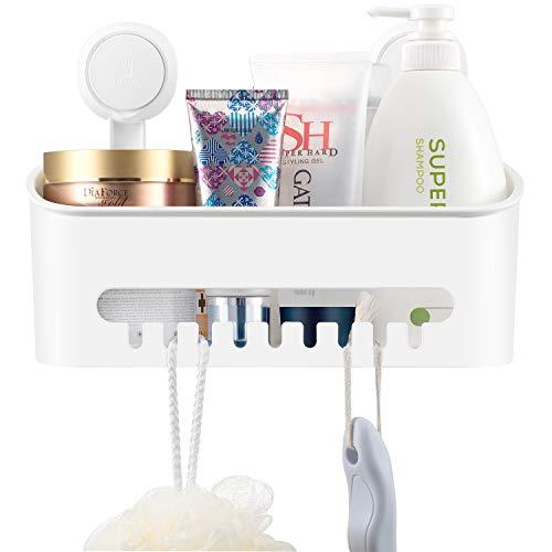 Ulinek Duschkorb Saugnapf ohne Bohren Duschablage Badezimmer Duschregal Saugnapf für Aufbewahrung von Shampoo,Duschregale 30,5 * 14 * 20,7cm
