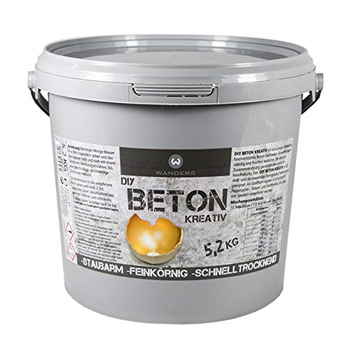 Wanders24® Bastelbeton zum Gießen - 5,2 kg - Beton für Kreative - Bastel Beton - Beton Deko - Beton wetterfest - Made in Germany