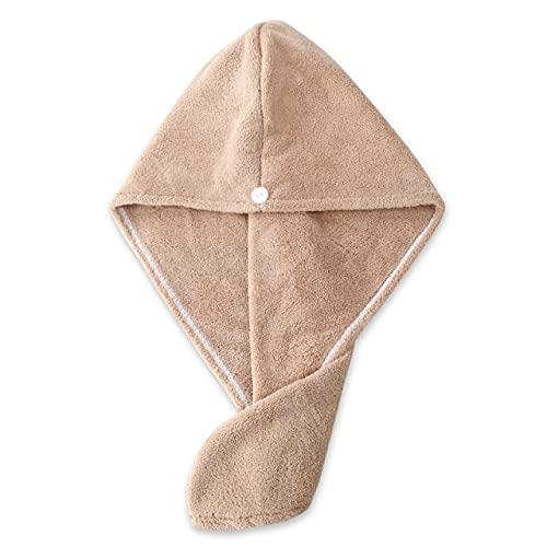 IAMZHL Toalla de Microfibra para secar el Cabello, secador de Secado rápido, Abrigo para baño, Sombrero, Turbante de absorción súper para niñas y Mujeres-1 Pc Khaki