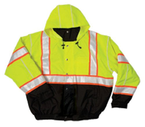 ML Kishigo JS119 Polyester Brilliant Series Bomber Jacket with Hidden Collar Hood, Large, Lime