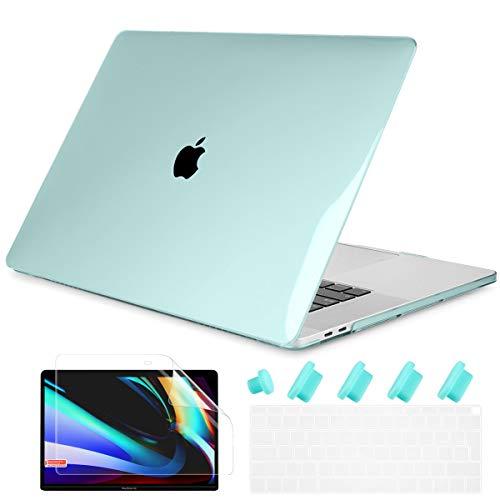 Batianda - Carcasa para MacBook Air de 13 pulgadas, 2020 2019, modelo M1 A2337 A2179 con Touch ID & Retina, plástico rígido, funda protectora de teclado y protector de pantalla, color verde cristal