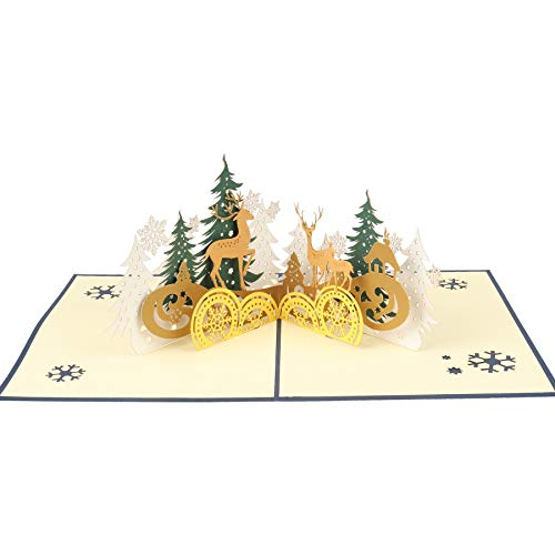 3D Pop Up Christmas Card with Envelope for Xmas Christmas Greeting Cards Holiday Gifts PostCards,Handmade Thank You Greeting Card(Forest Deer,1 Pcs)
