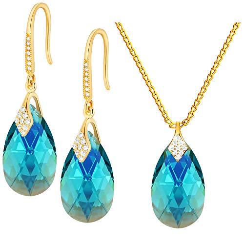 Crystals & Stones – Ganchos para boda Juego de joyas de plata 925 / chapado en oro 24 K – Circonita azul AB – Pendientes con cristales de Swarovski – Bonitos pendientes y collar – Joyas con caja de regalo gratis