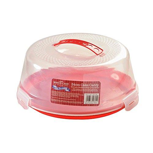 Mason Cash Caja para Tarta Redonda de 24cm con Tapa asa y fácil Sistema de Bloqueo, Rojo, 26x 26x 12cm