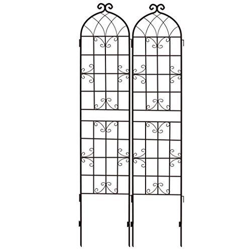 QILIN Garten Dekorative Zäune, schmiedeeiserner Hofzaun Außenstütze Kletterrahmen Blumenrahmen Bildschirm Balkon Trennwand (50CM × 215CM) Schwarz