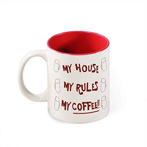 N\A Mi casa Mis Reglas Mi Taza de café Cuchillos Taza de café Blanco Hogar Taza de té de cerámica para Oficina
