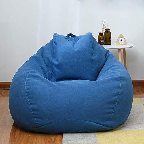XZKHL Adulte Grand Pouf Couverture Couverture Fauteuil Pouf Rempli Chaise en Mousse Rempli De Mousse Meubles pour Dortoir Lavable Salon Et Chaise De Chambre, Bleu, 100x120cm