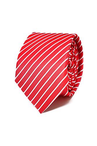 Oxford Collection Cravate Homme à rayures Rouge - 100% en Soie - Classique, Elégante et Moderne - (Idéale pour un cadeau, un mariage, avec un costume,