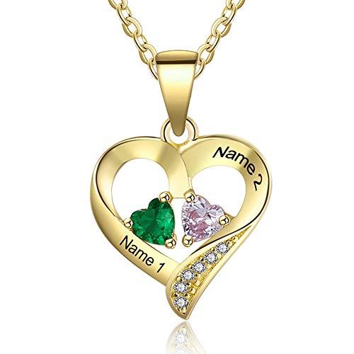 Grand Made 2 Name Necklace con Colgante de corazón Estimulado 2 Birthstone con Cadena Birthstone con Nombre Joyería chapada en Plata de Ley 925 (Gold, Plata)