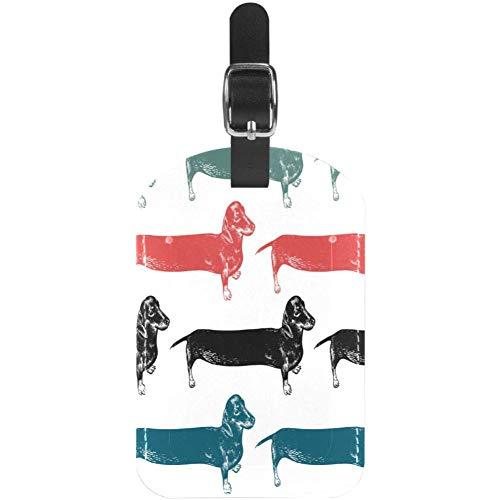 Gepäckanhänger, Dackel, lang, schwarz, rot, blau, grün, weich und bequem, personalisierbar