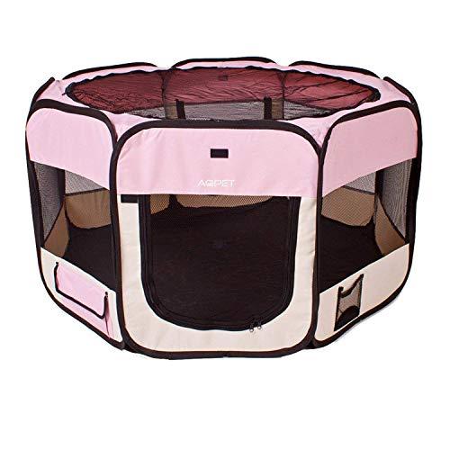 Recinto per Animali Cani e Gatti Cuccioli Pieghevole in Tessuto Impermeabile Colore Rosa