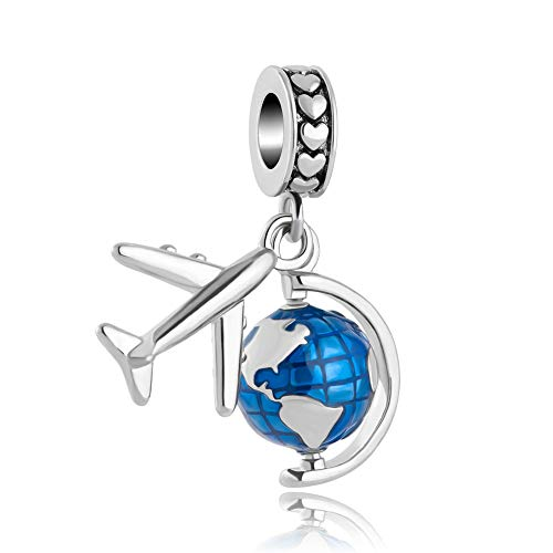 Sug Jasmin Travel Around The World Charm Aircraft and Globe Beads for Charms Bracelets