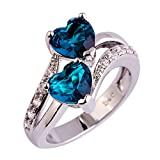 Auwer Rings, Clearance! 2-in-1 Womens Vintage White Diamond Silver Engagement Wedding Band Ring Set (US Size 9, Blue)