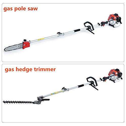 MAXTRA Reach to 16Feet Gas Pole Saw for Tree Trimming,Cordless Gas Pole Chainsaw Hedge Trimmer Grass Brush Cutter Multifunctional Tools