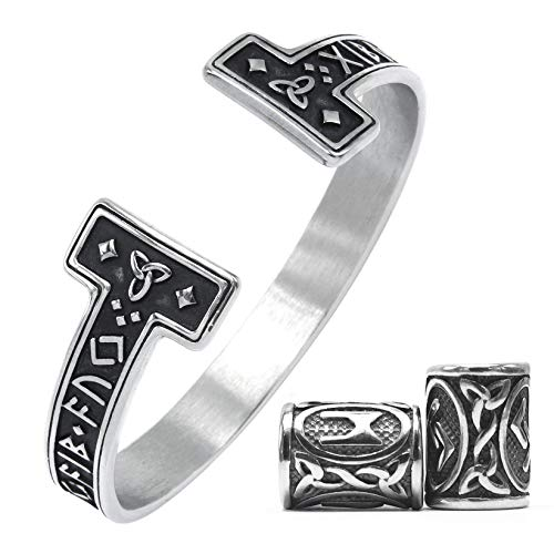 GUNGNEER Viking Mens Rune Cuff Bracelet Stainless Steel, Vikings Torc Bangle for Men, Adjustable, BONUS 2x RUNE BEAD & GIFT BOX (Silver 2)