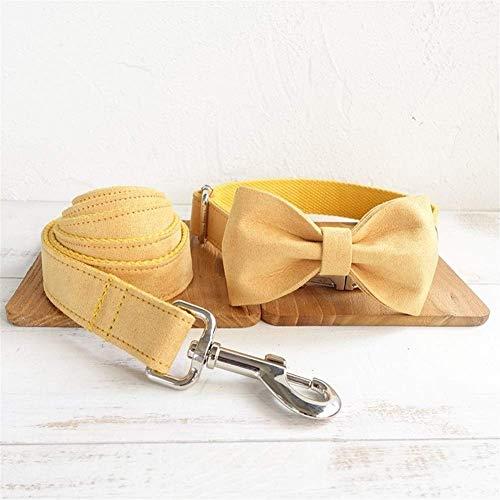 LAMZH Nilo Pet Perro Collar Tracción Cuerda Conjunto Doble Gruesa Cadena de Perro Cómodo Pequeños Perros Medios y Grandes (Color : Yellow Suede, Size : Medium)
