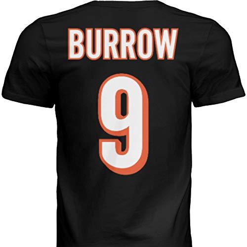 Hall of Fame Sports Memorabilia NWT New Burrow #9 Cincinnati Black Custom Screen Printed Football T-Shirt Jersey No Brands/Logos Men's (Extra Large)