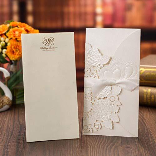 Yener Wit Rood Trouwkaarten Kaart Rose Liefdes Hart Leuke Wenskaarten met Lint Bruiloftsfeest Gunst Decoratie 1 stuks, omslag en binnenkaart, 113x215 mm