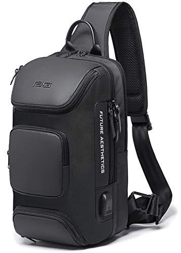 YESLAU ショルダーバッグ メンズ 斜めがけ 大容量 ボディバッグ 防水 USB充電ポート 肩掛けバッグ iPad収納可能 通勤 ブラック