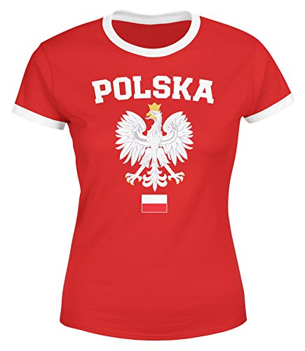 MoonWorks Damen WM-Shirt WM Polska Polen Poland Flagge World Cup Weißer Adler WM 2018 rot-weiß-Farbe-Flagge XS