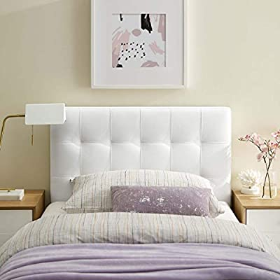 Modway Lily Tufted Faux Leather Upholstered Twin Headboard in White by Modway Inc.
