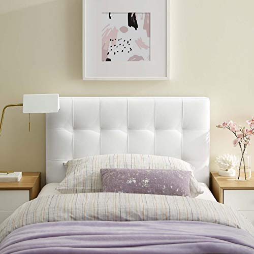 Modway Lily Tufted Faux Leather Upholstered Twin Headboard in White
