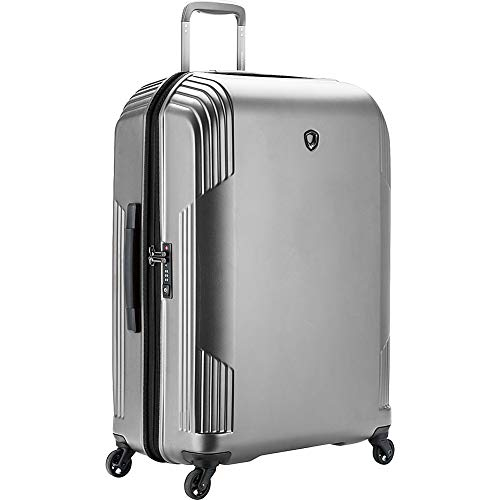 Traveler's Choice Riverside Premium Ultra-Lightweight Polycarbonate Hardside Luggage with Spinner Wheels, TSA Lock, Silver, Checked-Large 29-Inch