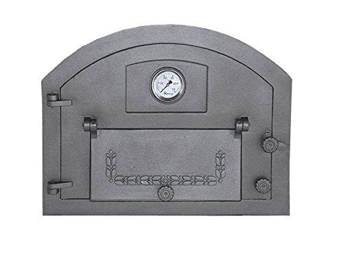 Backofentür Ofentür Pizzaofentür Holzbackofentür Steinbackofentür aus Gusseisen mit Thermometer   Außenmaße: 610x480 mm   Öffnungsrichtung: links
