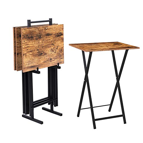 HOOBRO Beistelltisch Klappbar, klapptisch mit zusammengeklappt das Gestell, TV Tray klein 4er Set, Aufgehängter-Kleiner tabletttisch, Snack Tisch Industriestil, für kleinen Raum, Vintage EBF50BZ01