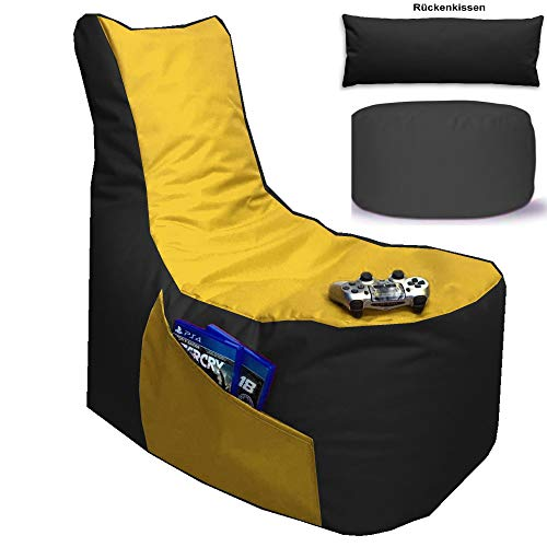 Sitzsack 3er Set Big Gamer Sessel mit EPS Sytropor Füllung - Rückenkissen - Hocker Sitzsäcke Sessel Kissen Sofa Sitzkissen Bodenkissen (Big Gamer Sitzsack 3er Set 2-farbig, Schwarz - Gelb)