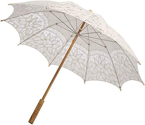 Wingbind White Lace Sonnenschirm Regenschirm, Brautjungfernschirme, European Retro Style Holzgriff Regenschirm Sonnenschirm für Frauen Mädchen Hochzeit Fotoshooting Dekoration