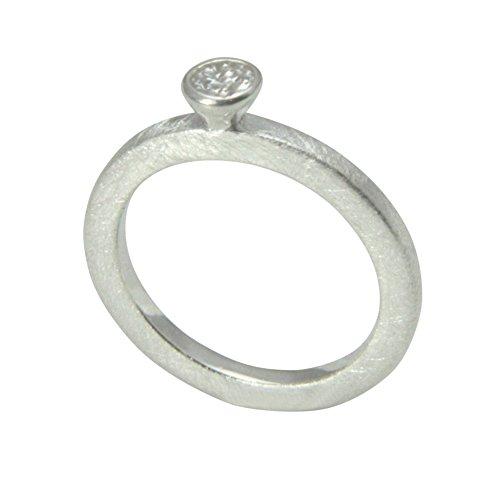 2 mm Silber Ring hochwertige Goldschmiedearbeit aus Deutschland (Sterling Silber 925) schlichter Ring - Vorsteckring mit Zirkonia Stein - Damenring - Verlobungsring - Beisteckring mattiert