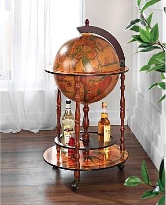 Globusbar Bartisch Beistelltisch Tisch Rollwagen Weltkugel rollen Getränkewagen