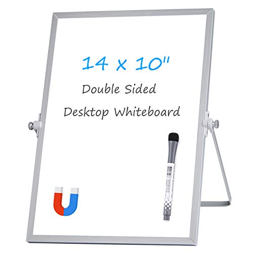 Aelfox Latest Design Lockable 14 x 10 Inch Desktop Whiteboard, Magnetic Small Dry Erase Board with Stand Double-Sided Planner Whiteboard Reminder Board with Dry Erase Marker for Office, Home, School