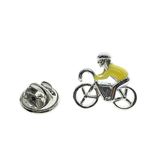 Cuff-Arts Lapel Pin Badges Yellow Racing Bike Brooch Sport Pin Badges Buttons Pins with a Gift Box P10083