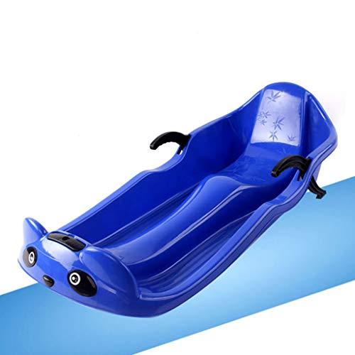 A&DW Winter-Schlitten Für Erwachsene Und Kinder, Verdickte Plastikschlitten Mit Seil Und Bremse, Benutzt Für Die Outdoor-Ski Ausrüstung Im Winter,Blau