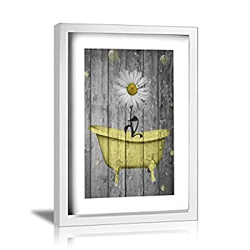 Ale-art Rustic Picture Frame Bathroom Wall Art Daisy Flower Bubbles Yellow Gray Vintage Rustic Bath Wall Art Ready to Hang for Wall Decor 12 x16