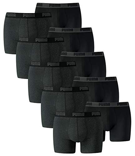 PUMA Herren Basic Boxer Boxershort Unterhose 10er Pack, Dark Grey Mélange/Black, M