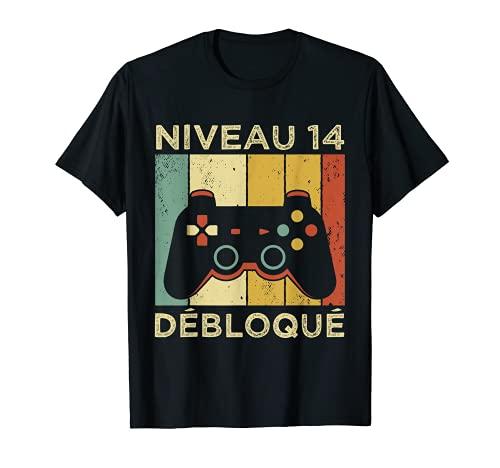 Gamer - Nivel de 14 años de cumpleaños Geek regalo para niños Gaming Camiseta
