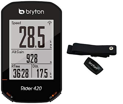 Bryton 420H Rider mit Herzband, Unisex für Erwachsene, Schwarz, 83,9 x 49,9 x 16,9 cm