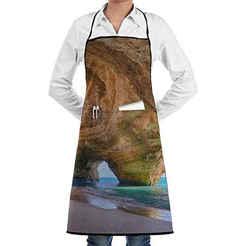 Reredith Kochen Küchenschürzen Best Beach in Algarve Printed Chef Schürze Schürzen mit Taschen für Frauen und Männer Chef