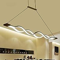 家具装飾シャンデリアモダンアートLED波形シャンデリアホワイトハンギングライトリビングルームレストランおよびオフィス用ペンダントライトL103CM * W 6CM * H1.5CMペンダント照明(色:ウォームライト)