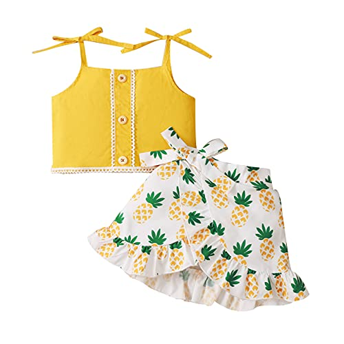 Shaohan Tirantes con volantes + faldas estampadas de frutas para niña, 2 piezas, ropa de bebé, chaleco de encaje, faldas irregulares, ropa para niños pequeños amarillo 80 cm
