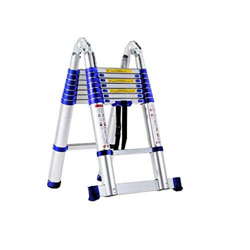GLING Portable Aluminum Telescopic Extension Ladder with Stabilizer,...