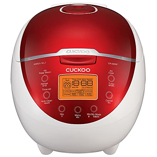 Cuckoo CR-0655F 6 Cup Micom Rice Cooker and Warmer, 11 Menu Options, Nonstick Inner Pot, Red/White
