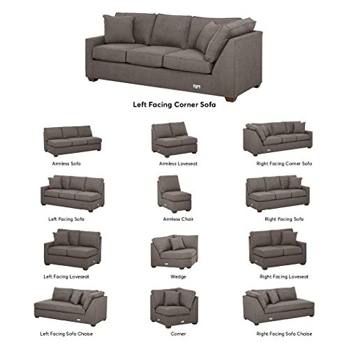 Amazon Brand – Stone & Beam Bagley Sectional Component, Left-Facing Corner Sofa, Fabric, 90'W, Stone
